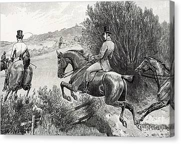Hunting Canvas Print - Prince Albert Hunting Near Belvoir Castle  by English School