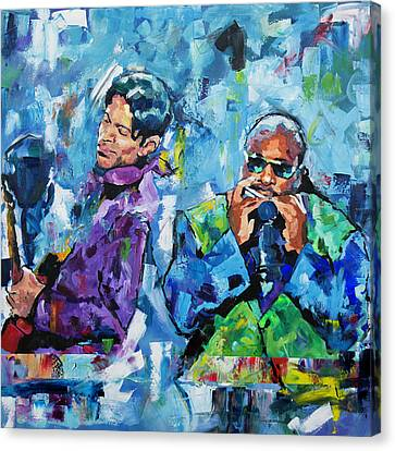 Canvas Print featuring the painting Prince And Stevie by Richard Day