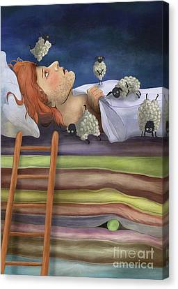 Prince And The Pea Twisted Fairy Tale Illustration Canvas Print