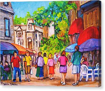 Canvas Print featuring the painting Prince Arthur Street Montreal by Carole Spandau