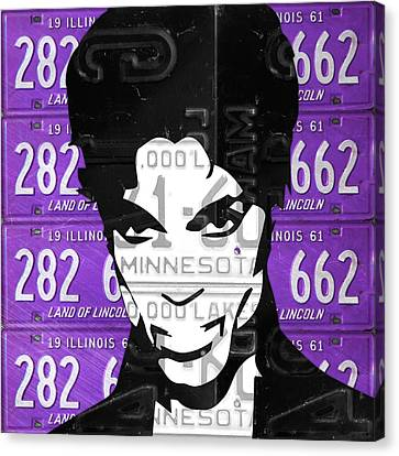 Prince Musician Portrait Made From Vintage Recycled Minnesota And Purple License Plates Canvas Print