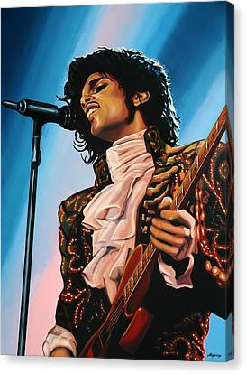 Famous Musician Canvas Print - Prince Painting by Paul Meijering