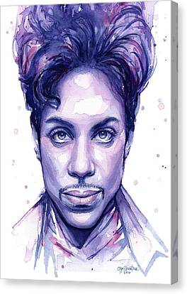 Celebrities Canvas Print - Prince Purple Watercolor by Olga Shvartsur
