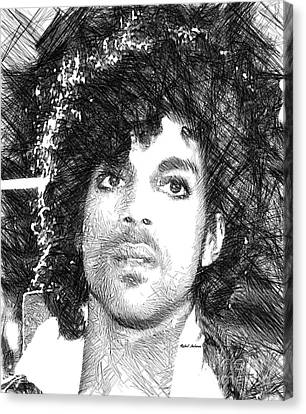 Prince - Tribute Sketch In Black And White 3 Canvas Print by Rafael Salazar