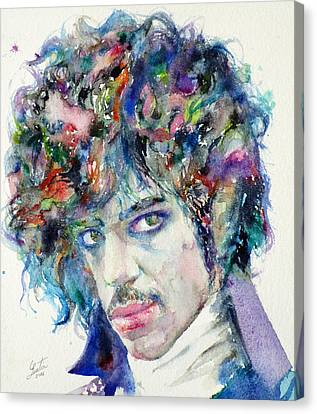Prince - Watercolor Portrait Canvas Print by Fabrizio Cassetta