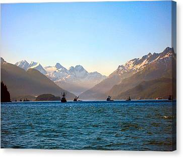 Canvas Print featuring the photograph Prince William Sound Fishing Seiners by Adam Owen