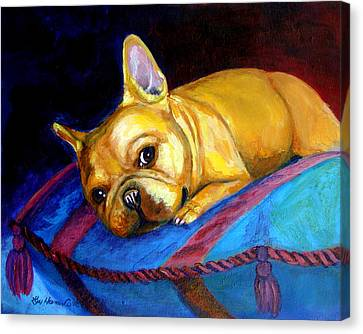 Princess And Her Pillow French Bulldog Canvas Print by Lyn Cook
