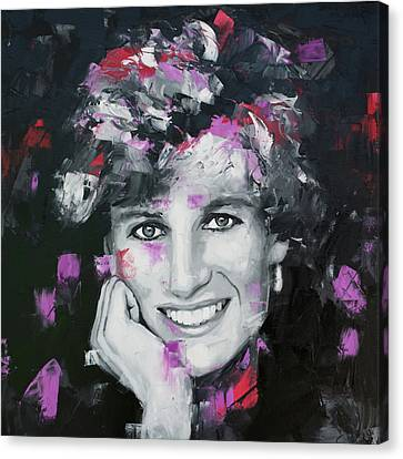 Canvas Print featuring the painting Princess Diana by Richard Day