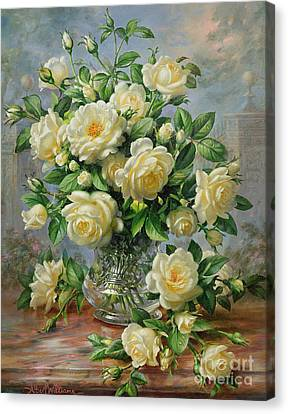Princess Diana Roses In A Cut Glass Vase Canvas Print by Albert Williams