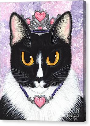 Princess Fiona -tuxedo Cat Canvas Print by Carrie Hawks