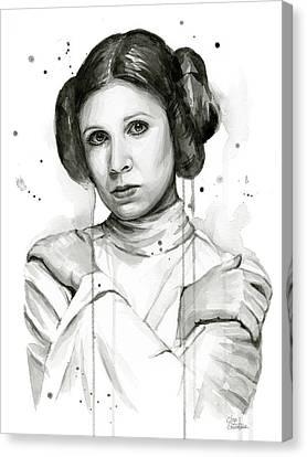 Princess Leia Portrait Carrie Fisher Art Canvas Print by Olga Shvartsur