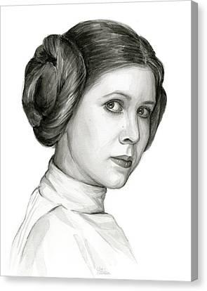 Princess Leia Watercolor Portrait Canvas Print by Olga Shvartsur