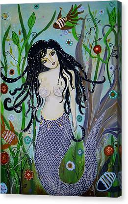 Canvas Print featuring the painting Princess Mermaid by Pristine Cartera Turkus