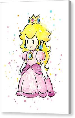 Princess Peach Watercolor Canvas Print by Olga Shvartsur