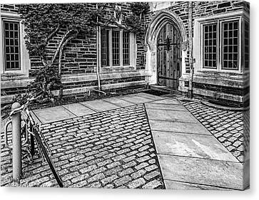 Canvas Print featuring the photograph Princeton University Foulke Hall Bw by Susan Candelario