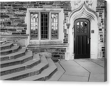 Canvas Print featuring the photograph Princeton University Lockhart Hall Bw by Susan Candelario