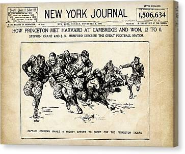 Canvas Print featuring the mixed media Princeton Vs Harvard - New York Journal 1896 by Daniel Hagerman
