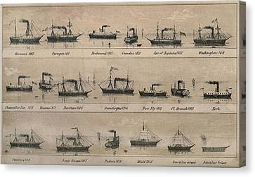 Print Depicting 19 Early Steamships Canvas Print by Everett