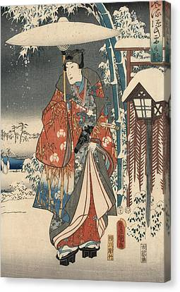 Snow Scene Canvas Print - Print From The Tale Of Genji by Kunisada and Hiroshige