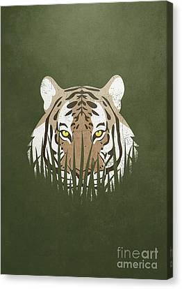 Tiger Canvas Print - Hiding Tiger by Sinisa Kale