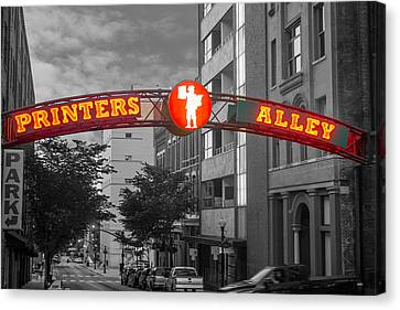 Printers Alley Sign Canvas Print