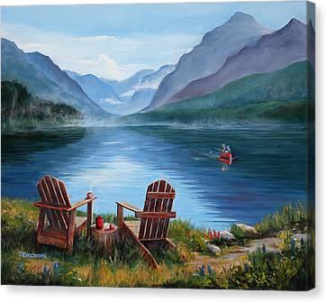 Canoe Canvas Print - Priorities by Mary Giacomini