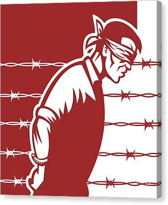 Prisoner Blindfolded Canvas Print by Aloysius Patrimonio