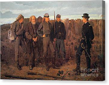 Prisoners From The Front Canvas Print by Winslow Homer