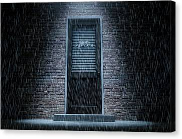 Private Eye Door Outside Rain Canvas Print by Allan Swart