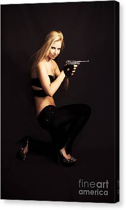 Private Investigator With Hand Gun Canvas Print by Jorgo Photography - Wall Art Gallery