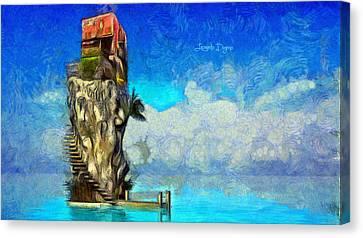 Canal Canvas Print - Private Island - Da by Leonardo Digenio