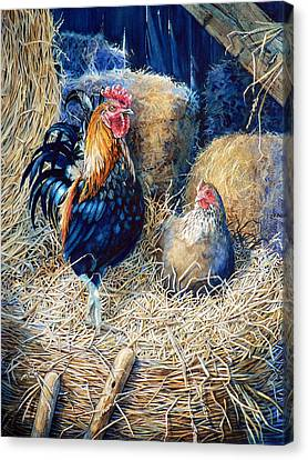 Prized Rooster Canvas Print by Hanne Lore Koehler