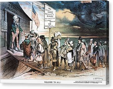 Pro-immigration Cartoon Canvas Print