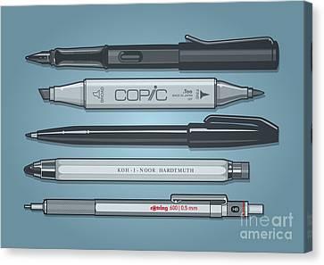 Pro Pens Canvas Print by Monkey Crisis On Mars