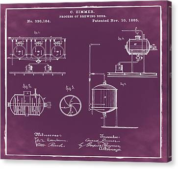 Process Of Brewing Patent 1885 In Red Canvas Print by Bill Cannon