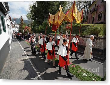 Procession In Azores Islands Canvas Print by Gaspar Avila