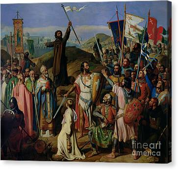 Procession Of Crusaders Around Jerusalem Canvas Print by Jean Victor Schnetz