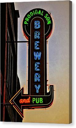 Prodigal Son Brewery And Pub Neon Canvas Print by Image Takers Photography LLC - Laura Morgan