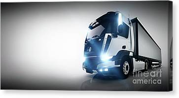 Fast Shipping Canvas Print - Professional Cargo Delivery Truck With Long Trailer. Banner by Michal Bednarek
