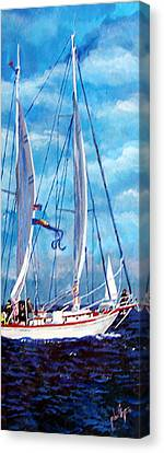 Canvas Print featuring the painting Profile Of A Sailboat by Jim Phillips