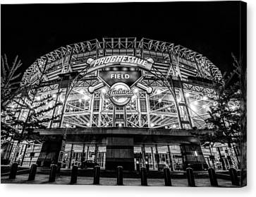 Progressive Field Black And White Canvas Print
