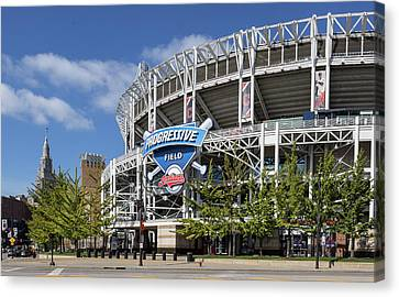 Canvas Print featuring the photograph Progressive Field In Cleveland Ohio by Dale Kincaid