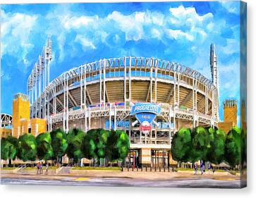 Canvas Print featuring the mixed media Progressive Field - Cleveland Baseball by Mark Tisdale