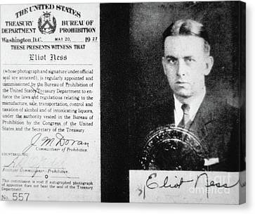 Prohibition Agent Id Card Of Eliot Ness Canvas Print by American School