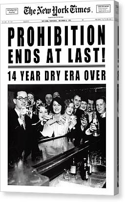 Prohibition Ends At Last Headline 1933 White Canvas Print by Daniel Hagerman