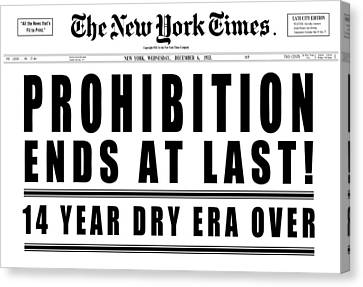 Prohibition Ends Headline 1933  White Canvas Print by Daniel Hagerman