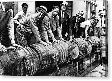 Fed Canvas Print - Prohibition Feds And Crew Dump Liquor by Daniel Hagerman