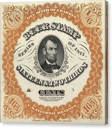 Prohibition Lincoln Beer Stamp Canvas Print by Dan Sproul