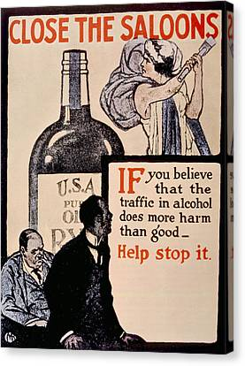 Prohibition Poster, 1918 Canvas Print by Everett