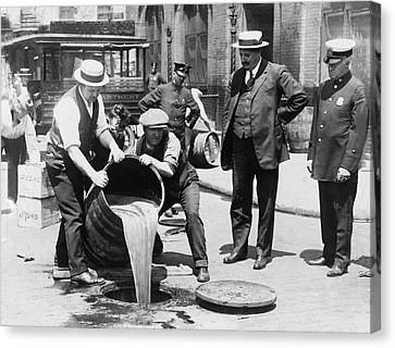 Prohibition - Pouring Beer Down The Drain Canvas Print by Bill Cannon